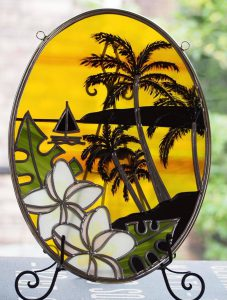 ハワイ夕暮れの風景のグラスアート