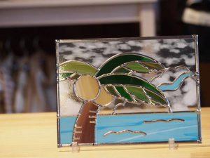 南国の海の風景グラスアート