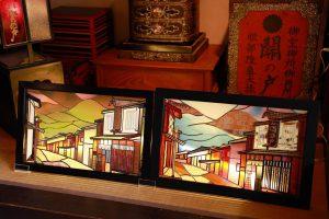 関宿の街並みグラスアート