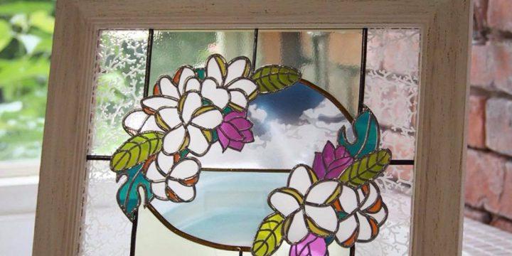 花柄のグラスアート